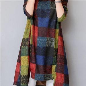 Assymetric hem block print shift dress
